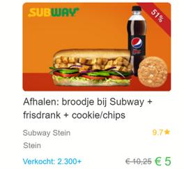 Winst voor Social Deal bij kleine locale Subway actie: € 4.025